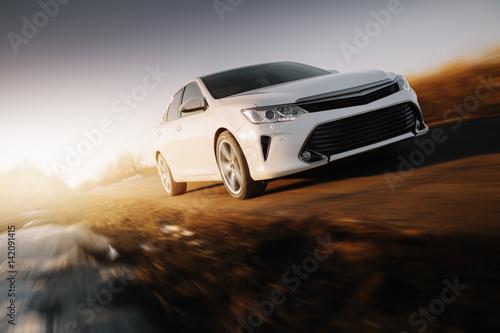 Fototapeta biały sportowy samochód