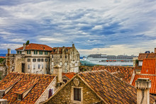Split, Croatia. Cruise Liner In Sea Port