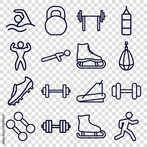 Set of 16 athletic outline icons - Buy this stock vector and explore