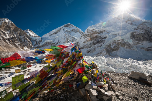 Wall Murals Nepal Pray flags in Everest base camp