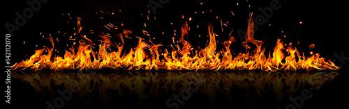 Fotografie, Obraz Fire panorama on a black background.