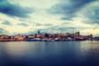 Alghero harbor in vintage tone