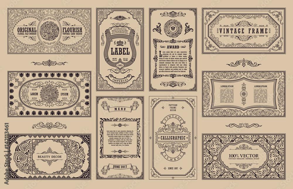 Fototapeta Vintage set retro cards. Template greeting card wedding invitation. Line calligraphic frames