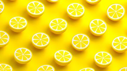 Collection of lemon fruits 3d illustration
