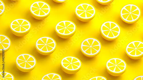 Fotografia, Obraz  Collection of lemon fruits 3d illustration