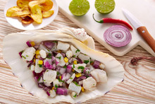 Ceviche Peruvian Recipe With Fried Banana