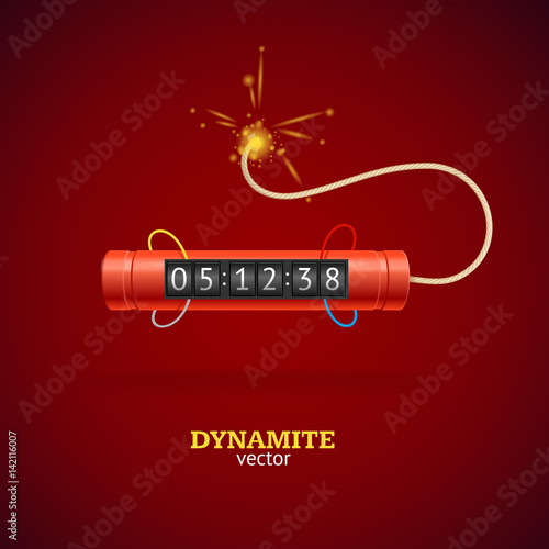 Detonate Dynamite Bomb and Timer Clock. Vector Fototapet