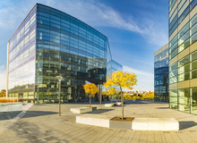 Szczecin, Poland-October 2016: Modern Office Complex In Autumn Afternoon
