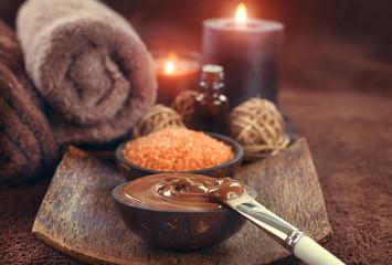 Spa treatment. Chocolate mask, bath salt, brown sugar scrub for skin