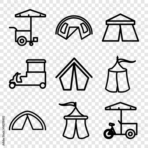 Keuken foto achterwand Art Studio Set of 9 tent outline icons