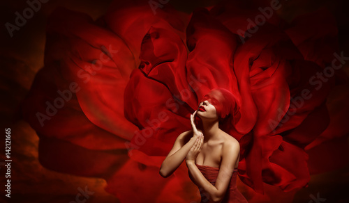 Fotografie, Obraz  Woman Fantasy, Fashion Model with Red Blindfold Silk Fabric Touching Face, Flowi