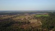 Aerial: Flying over a pine forest with a big lake and meadow fields