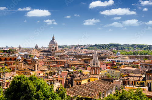 Poster Rome panoramic view of Rome and St. Peter's Basilica, Italy