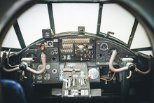 Aircraft Cockpit. Control Panel Of An Aircraft