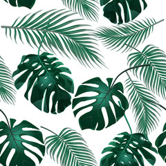 Fototapeta Abstrakcja Tropical palm leaves. Jungle thickets. Seamless floral background. Isolated on white. illustration