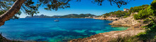 Idyllic Island Scenery, Panorama Sea View Of The Beautiful Coastline On Majorca Spain, Seaside Of Cala Ratjada