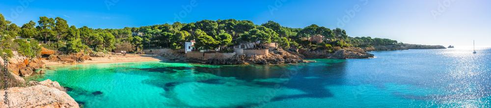 Fototapeta Beautiful panorama view of the beach and coast of Cala Gat in Cala Ratjada on Majorca Island, Spain Mediterranean Sea