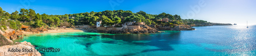 Obraz Beautiful panorama view of the beach and coast of Cala Gat in Cala Ratjada on Majorca Island, Spain Mediterranean Sea - fototapety do salonu