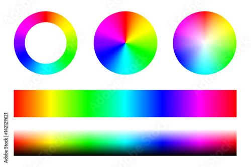 Fotografia Zestaw widm kolorów RGB, koła koła i paski. Wektor