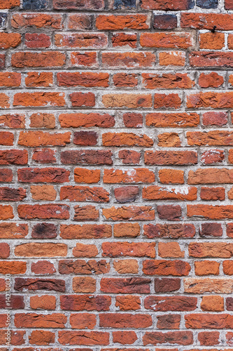 Photo  Old aged red brick wall texture background.