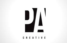 PA P A White Letter Logo Design With Black Square.