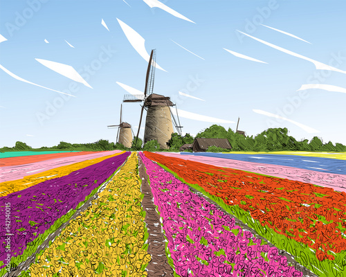 Photo Stands Candy pink Scenic fields in the background windmills in Holland. Netherlands, Europe. Hand drawn vector illustration