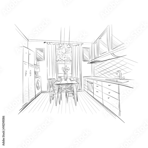 Hand Drawn Kitchen Interior Sketch Design Vector Illustration Buy