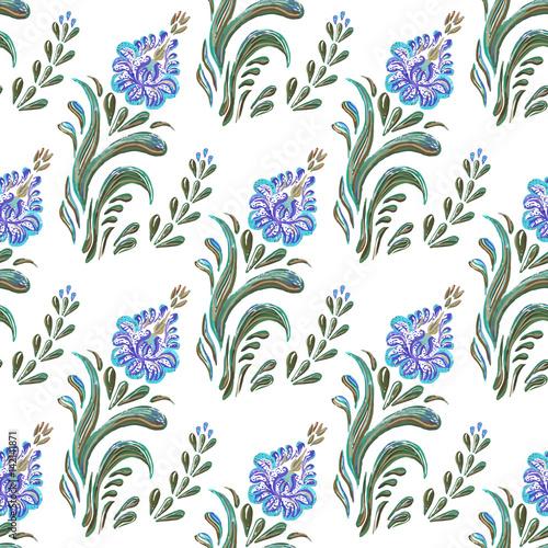 bez-szwu-niebieski-wzor-kwiatowy