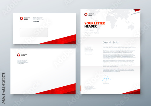 envelope dl c5 letterhead red corporate business template for