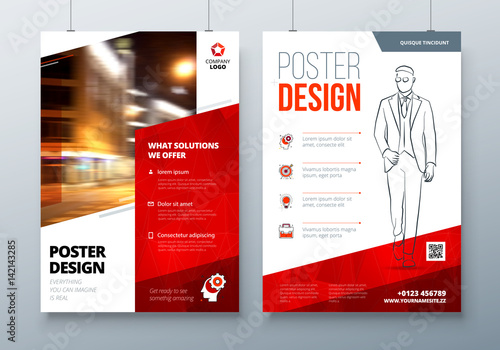 Poster Design A3 A2 A1 Red Corporate Business Template For