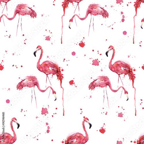 Canvas Prints Flamingo Seamless flamingo bird pattern