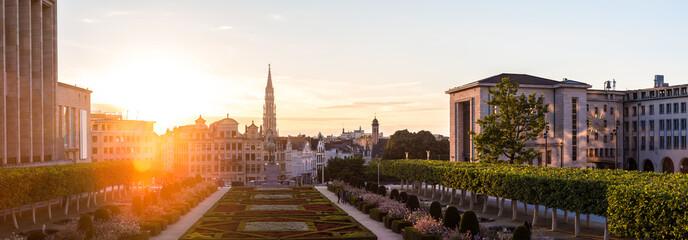 Fototapeta Cityscape of Brussels at sunset