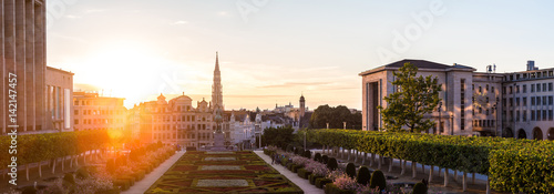 Foto op Canvas Brussel Cityscape of Brussels at sunset