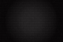 Vector Realistic Black Brick Wall Background For Decoration.