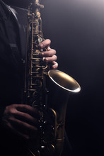 Saxophone Player Saxophonist Playing Sax Alto. Musical Instruments
