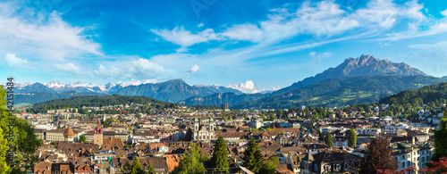 Panoramic view of Lucerne Poster Mural XXL