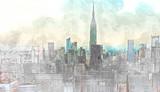 Sketch of the Manhattan skyline cityscape - 142162030