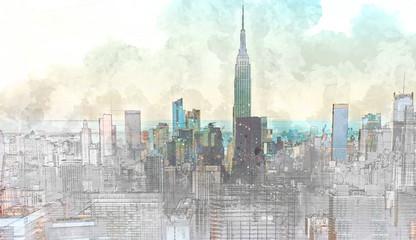 Fototapeta Sketch of the Manhattan skyline cityscape