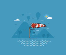 Airport Windsock Showing Strong Wind On Seaside Background. Red Striped Wind Bag On Airfield With Flying Air Balloons Landscape. Windy Weather Concept Vector Illustration.