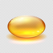 Transparent Yellow Capsule Of Drug, Vitamin Or Fish Oil Macro Vector Illustration