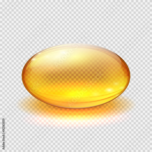 Fotografia Transparent yellow capsule of drug, vitamin or fish oil macro vector illustratio