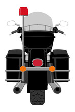 Black Classic Police Patrol Heavy Motorcycle With Clear Front Windshield Rear View Graffiti Style Isolated On White Vector Illustration