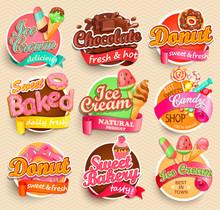 Set Of Sweet Food Labels.