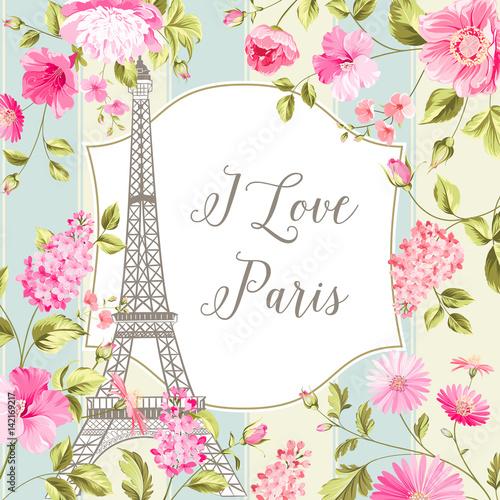 I love Paris invitation card Wallpaper Mural