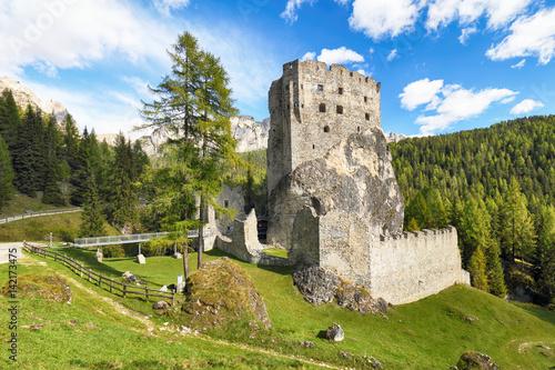 Aluminium Prints Ruins Ruins of Burg Buchenstein Castle - Burg Andraz, Dolomites, Italy