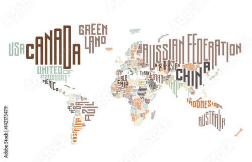Obraz na plátně  World map made of typographic country names