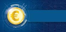 Golden Euro Coin Data Circuit Board Banner