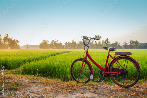 Türaufkleber Fahrrad Red bicycle with rural view background