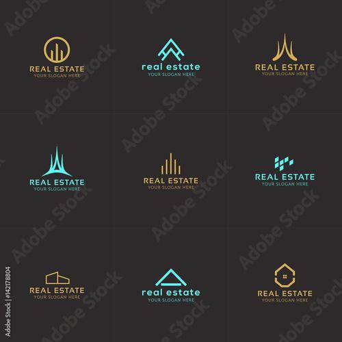 Fototapeta Set of real estate minimal logo templates. House, buildings, skyline creative abstract shapes for logo design. obraz na płótnie