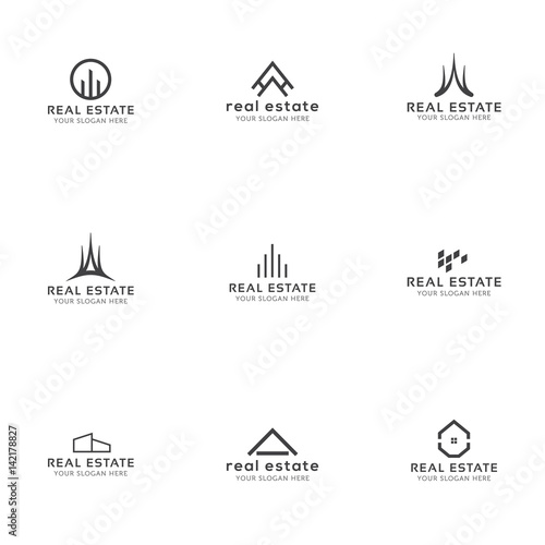 set of real estate minimal logo templates house buildings skyline
